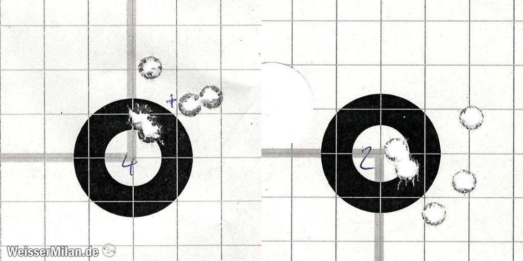 Es ist gut ersichtlich, dass bei diesen Treffpunktlagen nur 2 Schuss ein falsches Bild geliefert hätten. Insbesondere, wenn die nahe beieinander liegenden Treffer direkt aufeinanderfolgend erfolgt wären (wie in diesen Fällen auch tatsächlich vorgekommen!).