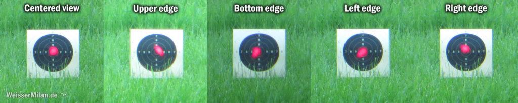 Parallaxefehler und Punktform in Abhängigkeit vom Einblickwinkel. Hier wurde der Punkt jeweils zentriert, vom oberen, unteren, linken und rechten Rand fotografiert. Die Position von Zielscheibe und Optik blieb bei diesem Test immer gleich. Dadurch sieht man auch sehr schön den Parallaxefehler. Die Entfernung zur Scheibe beträgt hier 50 m.