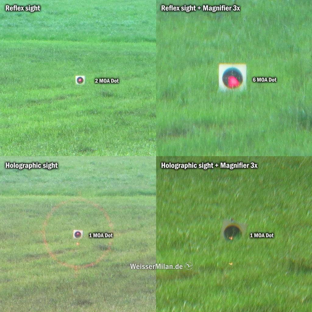 Vergleich der Leuchtpunktgrößen bei einem Reflexvisier und einem holografischen Visier, jeweils mit und ohne Magnifier. Entfernung 100 m.