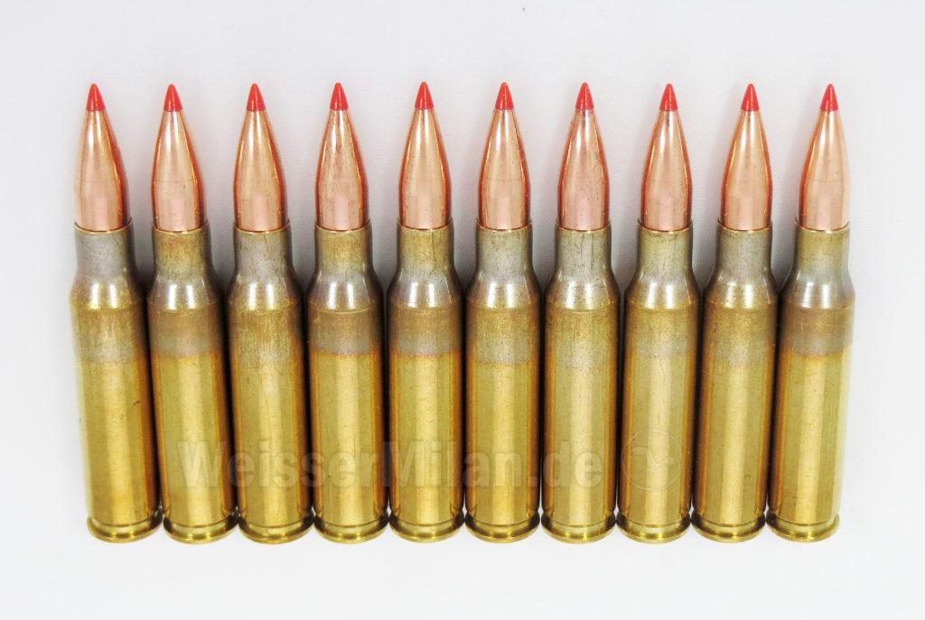 Wiedergeladene Patronen im Kaliber .308 Win mit Hornady V-MAX 110 gr Geschossen.