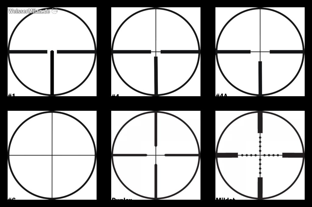 Das Absehen 1 war früher in Deutschland mitunter am weitesten verbreitet. Heute ist es wohl das Absehen 4.  Weltweit gesehen findet das Duplex-Absehen am häufigsten Anwendung. Achtung, es handelt sich hier um schematische, nicht maßstabsgetreue Abbildungen.