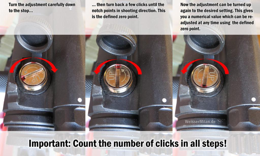Durch Definieren eines Nullpunkts kann auch bei Optiken ohne Skalenbeschriftung ein Zahlenwert für die Einstellung ermittelt werden.