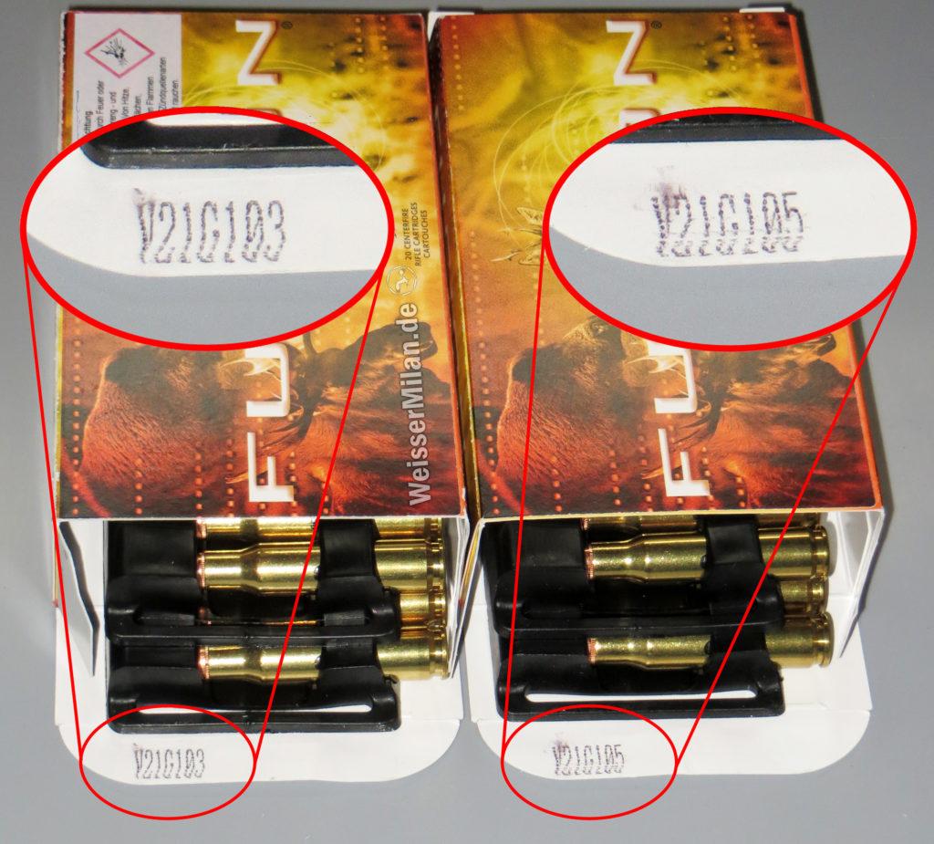Munition aus verschiedenen Fertigungschargen kann unterschiedliche Treffpunktlagen aufweisen.